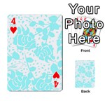 Floral Wallpaper Aqua Playing Cards 54 Designs  Front - Heart4