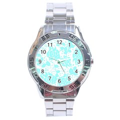 Floral Wallpaper Aqua Stainless Steel Men s Watch by ImpressiveMoments