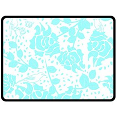 Floral Wallpaper Aqua Double Sided Fleece Blanket (large)  by ImpressiveMoments