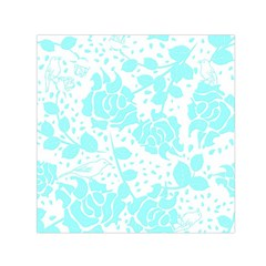 Floral Wallpaper Aqua Small Satin Scarf (square)  by ImpressiveMoments