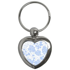 Floral Wallpaper Blue Key Chains (heart)  by ImpressiveMoments