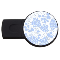 Floral Wallpaper Blue USB Flash Drive Round (1 GB)  by ImpressiveMoments