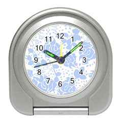 Floral Wallpaper Blue Travel Alarm Clocks by ImpressiveMoments