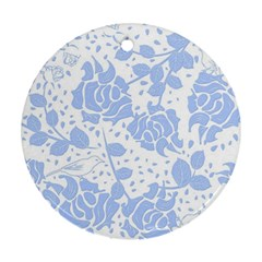 Floral Wallpaper Blue Round Ornament (two Sides)  by ImpressiveMoments