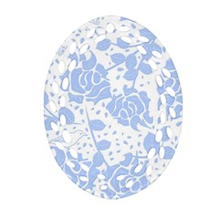 Floral Wallpaper Blue Oval Filigree Ornament (2 Side)  by ImpressiveMoments