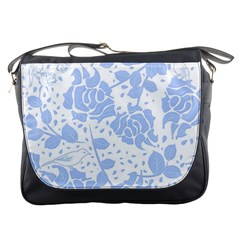 Floral Wallpaper Blue Messenger Bags by ImpressiveMoments