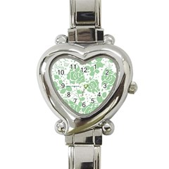 Floral Wallpaper Green Heart Italian Charm Watch by ImpressiveMoments