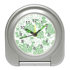 Floral Wallpaper Green Travel Alarm Clocks by ImpressiveMoments