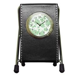 Floral Wallpaper Green Pen Holder Desk Clocks by ImpressiveMoments