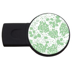Floral Wallpaper Green Usb Flash Drive Round (4 Gb)  by ImpressiveMoments