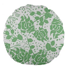 Floral Wallpaper Green Large 18  Premium Flano Round Cushions by ImpressiveMoments