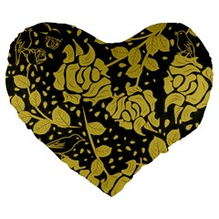 Floral Wallpaper Forest Large 19  Premium Flano Heart Shape Cushions by ImpressiveMoments
