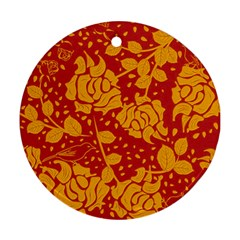 Floral Wallpaper Hot Red Ornament (round)  by ImpressiveMoments