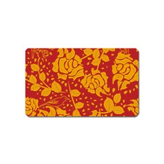 Floral Wallpaper Hot Red Magnet (Name Card) by ImpressiveMoments