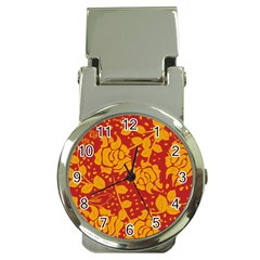 Floral Wallpaper Hot Red Money Clip Watches by ImpressiveMoments