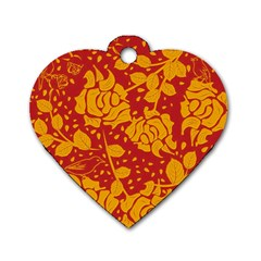 Floral Wallpaper Hot Red Dog Tag Heart (Two Sides) by ImpressiveMoments