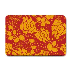 Floral Wallpaper Hot Red Small Doormat  by ImpressiveMoments