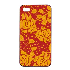 Floral Wallpaper Hot Red Apple Iphone 4/4s Seamless Case (black) by ImpressiveMoments