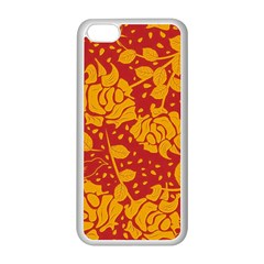 Floral Wallpaper Hot Red Apple Iphone 5c Seamless Case (white) by ImpressiveMoments