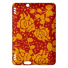 Floral Wallpaper Hot Red Kindle Fire HDX Hardshell Case by ImpressiveMoments