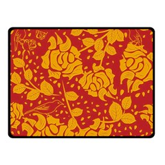 Floral Wallpaper Hot Red Double Sided Fleece Blanket (small)  by ImpressiveMoments