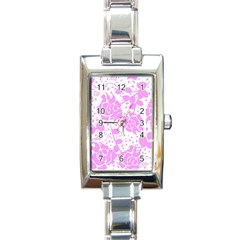 Floral Wallpaper Pink Rectangle Italian Charm Watches by ImpressiveMoments
