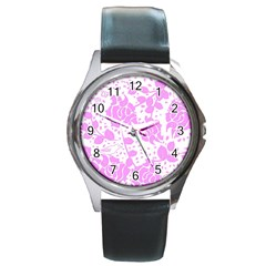 Floral Wallpaper Pink Round Metal Watches by ImpressiveMoments