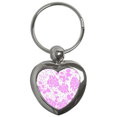 Floral Wallpaper Pink Key Chains (heart)  by ImpressiveMoments