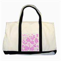 Floral Wallpaper Pink Two Tone Tote Bag  by ImpressiveMoments