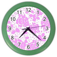 Floral Wallpaper Pink Color Wall Clocks by ImpressiveMoments