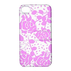 Floral Wallpaper Pink Apple Iphone 4/4s Hardshell Case With Stand by ImpressiveMoments