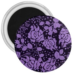 Floral Wallpaper Purple 3  Magnets by ImpressiveMoments