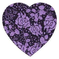 Floral Wallpaper Purple Jigsaw Puzzle (heart) by ImpressiveMoments