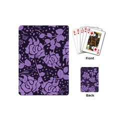 Floral Wallpaper Purple Playing Cards (mini)  by ImpressiveMoments