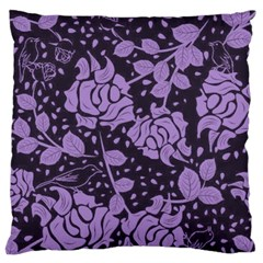 Floral Wallpaper Purple Large Flano Cushion Cases (one Side)  by ImpressiveMoments