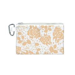 Floral Wallpaper Peach Canvas Cosmetic Bag (s) by ImpressiveMoments