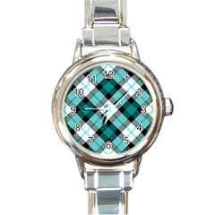 Smart Plaid Teal Round Italian Charm Watches by ImpressiveMoments