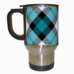Smart Plaid Teal Travel Mugs (white) by ImpressiveMoments