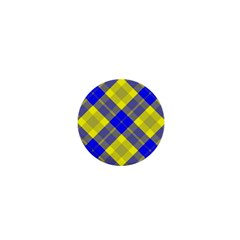 Smart Plaid Blue Yellow 1  Mini Buttons by ImpressiveMoments