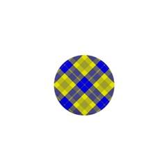 Smart Plaid Blue Yellow 1  Mini Magnets by ImpressiveMoments