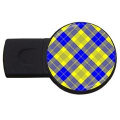 Smart Plaid Blue Yellow Usb Flash Drive Round (2 Gb)  by ImpressiveMoments