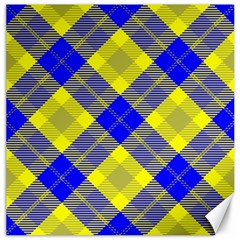 Smart Plaid Blue Yellow Canvas 12  X 12   by ImpressiveMoments