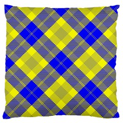 Smart Plaid Blue Yellow Large Flano Cushion Cases (one Side)  by ImpressiveMoments