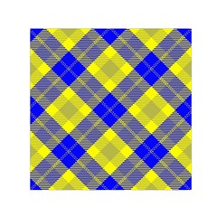 Smart Plaid Blue Yellow Small Satin Scarf (square)  by ImpressiveMoments