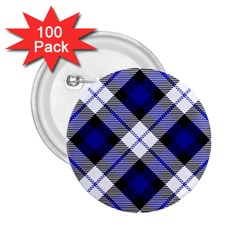 Smart Plaid Blue 2 25  Buttons (100 Pack)  by ImpressiveMoments