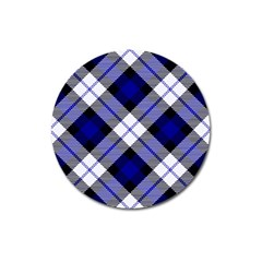 Smart Plaid Blue Magnet 3  (round) by ImpressiveMoments