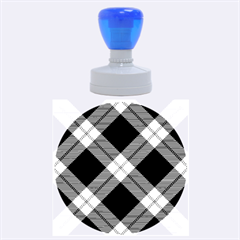 Smart Plaid Blue Rubber Round Stamps (Large) by ImpressiveMoments