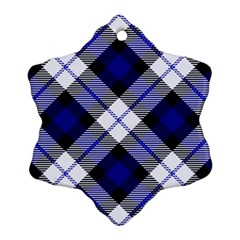 Smart Plaid Blue Snowflake Ornament (2 Side) by ImpressiveMoments