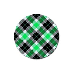 Smart Plaid Green Rubber Coaster (Round)  by ImpressiveMoments