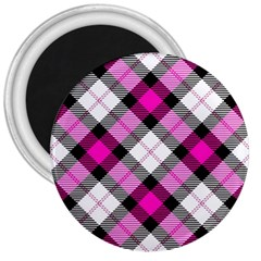 Smart Plaid Hot Pink 3  Magnets by ImpressiveMoments